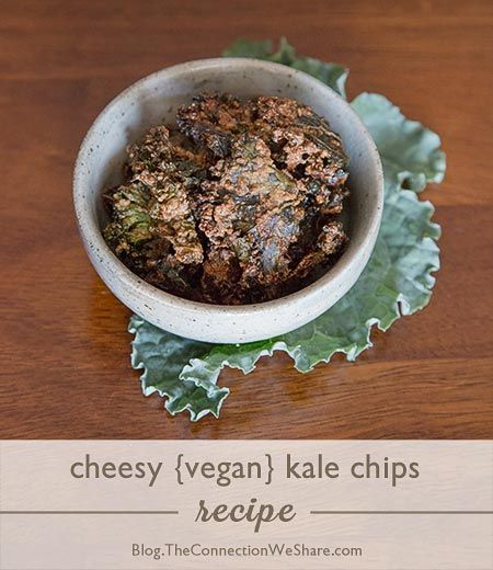 Cheesy Vegan Kale Chips Recipe- reduce fat by subbing EVOO for cashew ...