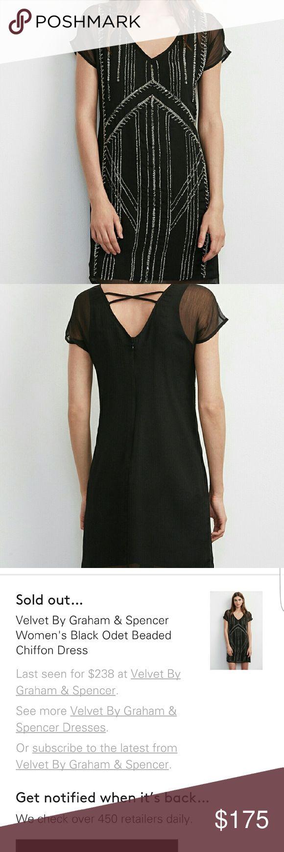 Velvet by graham & spencer beaded chiffon dress Black beaded dress xs sold at Nordstrom worn once for 3 hours to a wedding Velvet Dresses