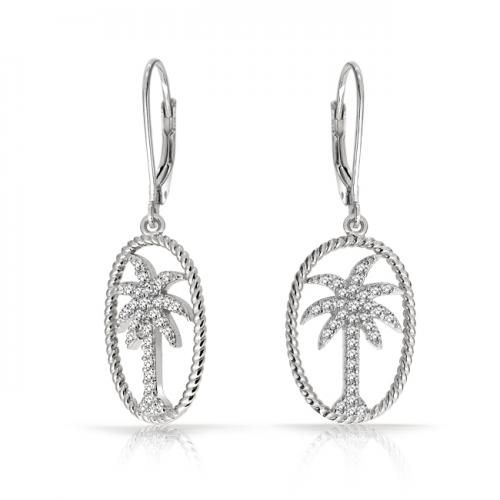 Bling Jewelry Twisted Rope Oval Pave CZ Palm Tree Leverback Drop Earrings Silver