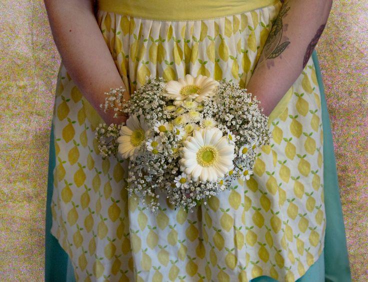 bridesmaid posy of gerbera, gyp and cresanths. Created by Hannah Stracy at PickMe https://www.facebook.com/PickMeFloristry/