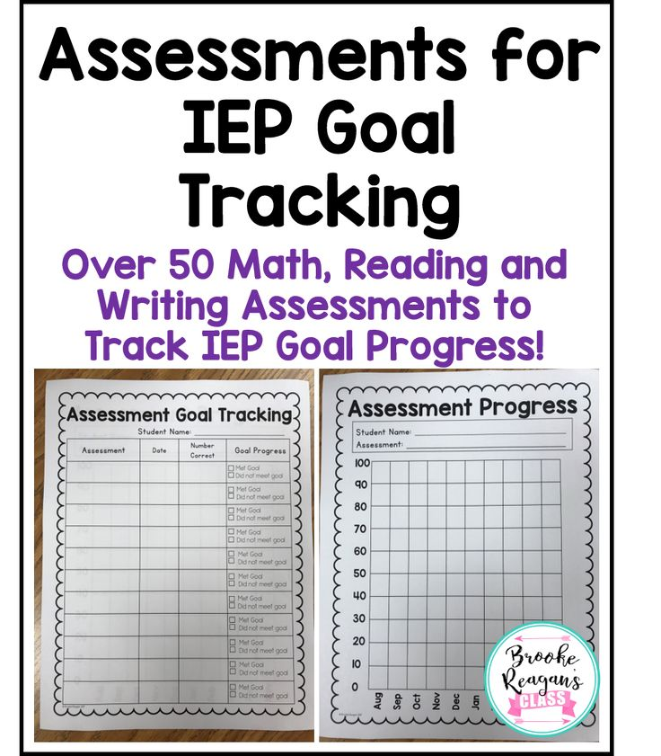 Over 50 math, reading, and writing assessments to use to track IEP Goal Progress! These assessments are easy to use and come with progress goal tracking sheets to make it easy to report data! Perfect for any kind of special education teacher!
