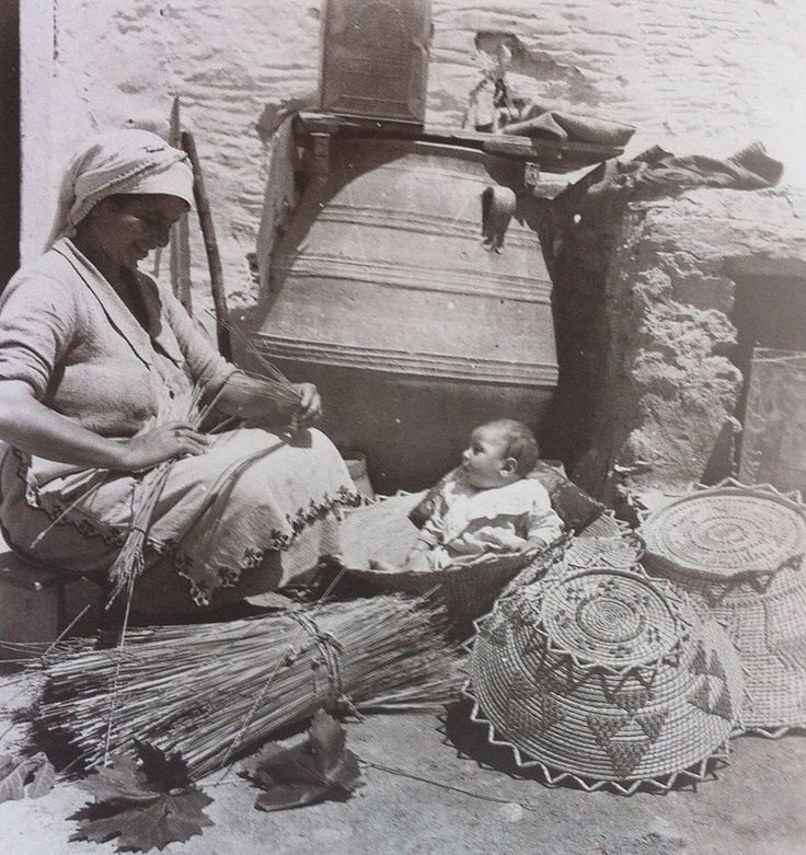 Cretan women weaving baskets ...