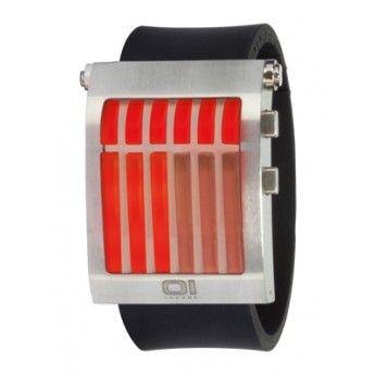 Reloj para hombre y mujer con caja rectangular de acero mate de 48mm de largo, 39mm de ancho y 12.5mm de grosor, y con correa de auténtico http://www.tutunca.es/reloj-unisex-go-a-wave-the-one-acero