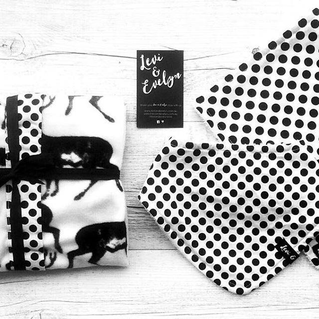 This #monochrome custom order... Love it!  #leviandevelyn #leviandevelynlove #stag #bandanabib #fleeceblanket