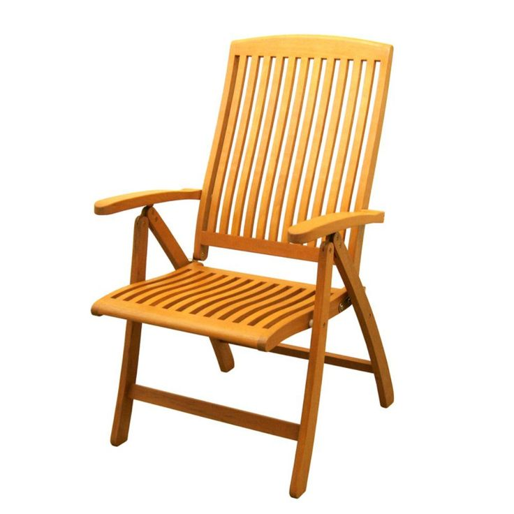 International Caravan Royal Tahiti Saragossa 5 Position Folding Dining Chair - Set of 2. Set of 2. All weather resistant and UV light fading protection. Folding for easy transportation and storage. Five multi positions for various comfort zones. Made from premium outdoor yellow balau hardwood.