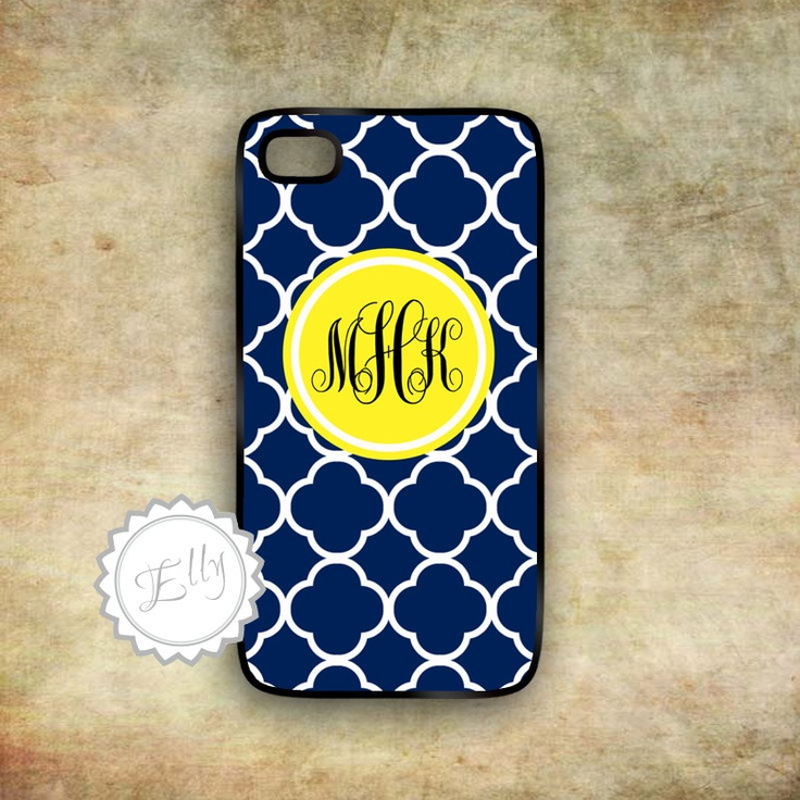 iPhone navy blue and yellow monogram hard by ColorsAndFriends