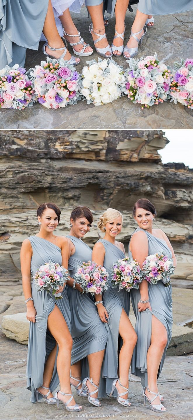 Bridal party photo ideas. I love the colour of the bridesmaids' dresses and flowers!  Grey, silver and pink bridesmaids dresses and flowers. ~Sydney wedding photography by Yulia Photography~ www.yuliaphotography.com.au