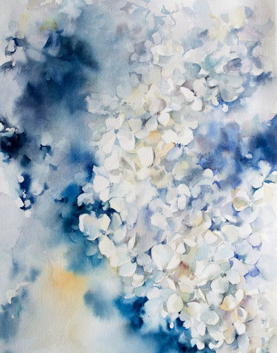 Hydrangea Watercolor Print Blue Floral by CanotStopPrints on Etsy