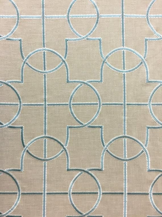 Ojs40 Embroidered Linen In Beige And Spa Blue Fully Lined Custom Curtains 48 Wide Spa Blue Embroidery On Beig Custom Curtains Linen Fabric Blue Embroidery