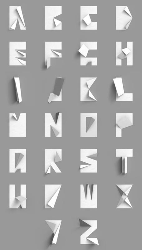 Tipo de papel doblado {en blanco y negro}   Type, Typography, de letras, Fuentes   Scoop.it