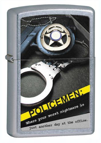 Zippo Street Chrom Police Badge handcuffs Lighter Silver 5 12 x 3 12Cm ** Find out more about the great product at the image link.(This is an Amazon affiliate link and I receive a commission for the sales)