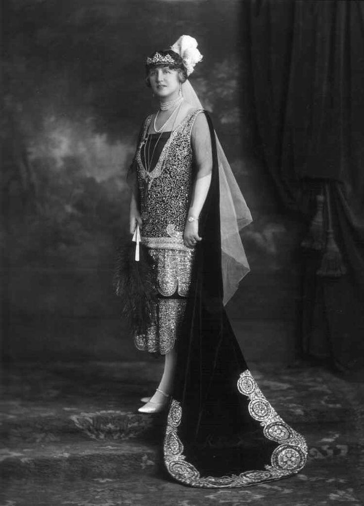 Adelaide, Lady Waterlow, 1926, wearing a diamond belle epoque tiara bandeau-style.