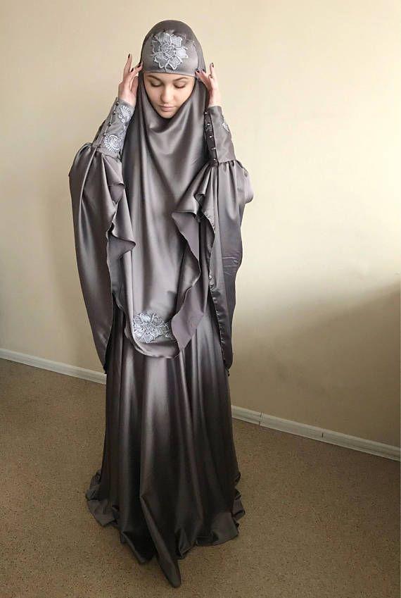 Elegant #muslim silver suit, Silk gray jilbab, wedding khimar, engagement islamic dress, #nikah outfit, lace #burqa, #jilbab , #khimar