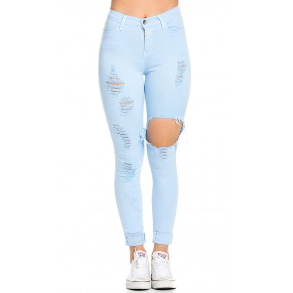 High Waisted Distressed Skinny Jeans in Baby Blue ($45) ❤ liked on Polyvore featuring jeans, pants, bottoms, pants/shorts, shorts/pants, high-waisted jeans, destroyed skinny jeans, high-waisted skinny jeans, ripped jeans and stretch skinny jeans