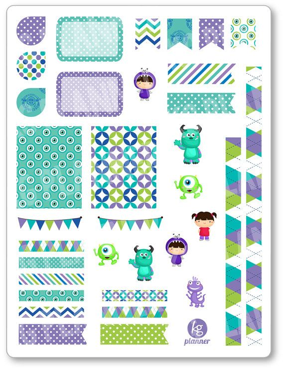 One 6 x 8 sheet of Monster Friends Decorating Kit / Weekly Spread planner stickers cut and ready for use in your Erin Condren life planner, Filofax,