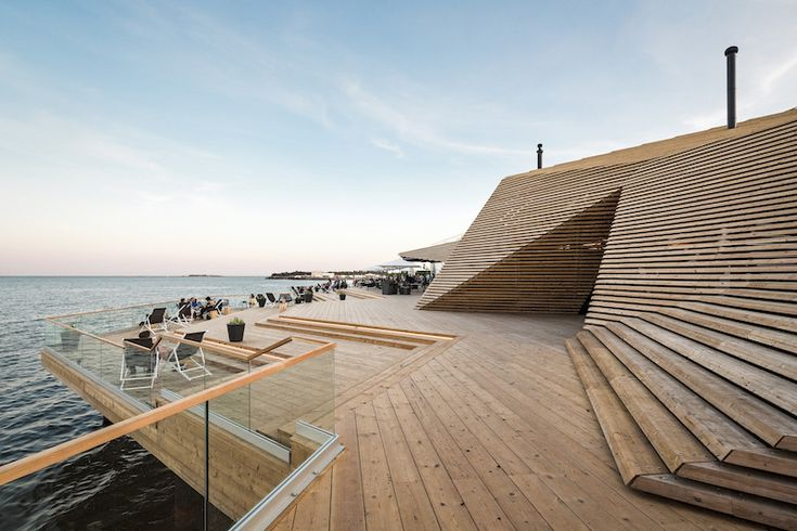 Löyly Helsinki. Traditional Finnish sauna culture, relaxing restaurant moments and terrace with sea views, in addition with stunning architecture using wood. #architecture #restaurant #terrace