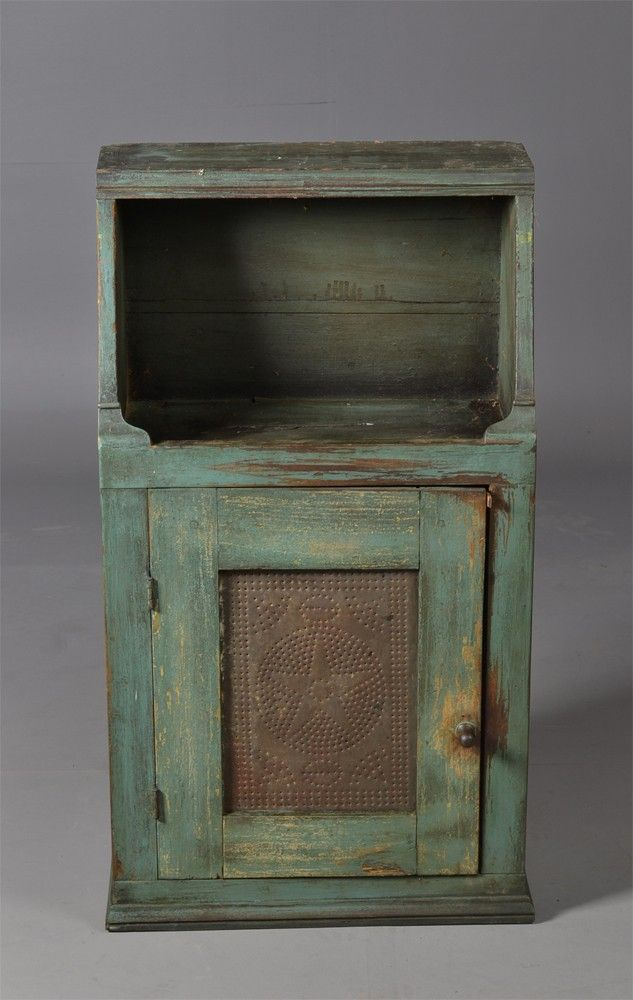 American Tin & Painted Wood Hanging Cupboard ...~♥~