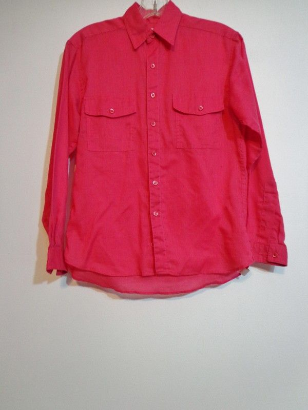 6b7917a78 Lightweight True Vintage Bright Coral Fuschia Pink Button Down Blouse Shirt  Size Small