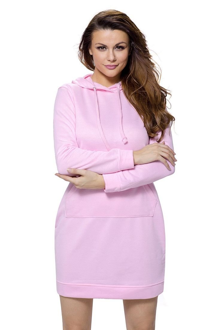 Robe Courte Hoodie Manches Rose Longues Poche de Forme Pas Cher www.modebuy.com @Modebuy #Modebuy #Rose #sexy #gros #me