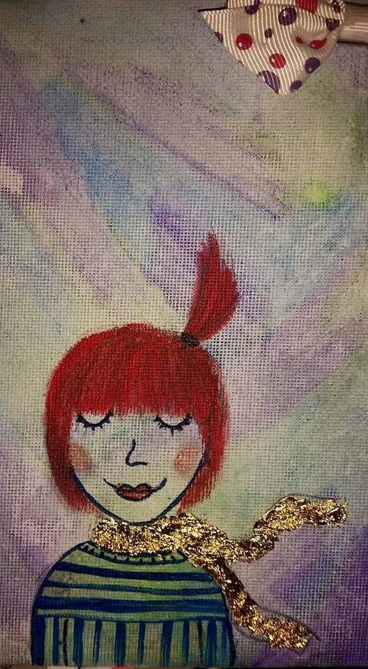 Elsie. ♡ Watercolor on canvas with gold leaf. :)