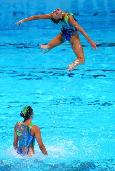 Great Britain compete in the Synchronized Swimming Team preliminary round on day four of the 15th FINA World Championships at Palau Sant Jordi on July 23, 2013 in Barcelona, Spain.