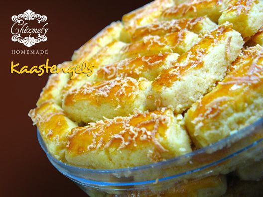 Kaastengels, Dutch influenced cheese butter cookies, with crunchy Edam matured cheese on top.
