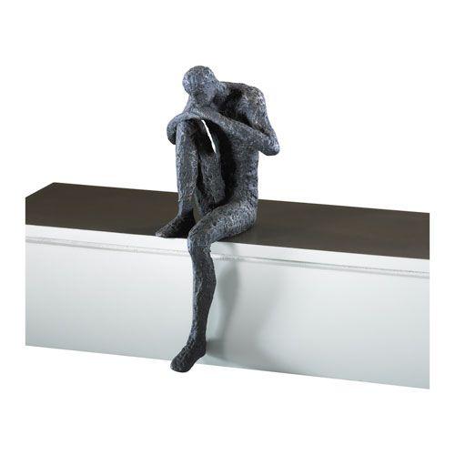 Old World Thinking Man Shelf Decor Cyan Design Indoor Statuary Statues Home Decor
