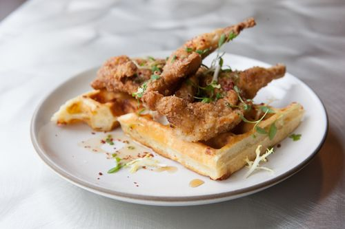 #Recipe - #NewEngland #ChickenandWaffles from Chef John daSilva of Spoke: #OldBay #Quail, #VermontCheddar #Waffles, #MapleSyrup.
