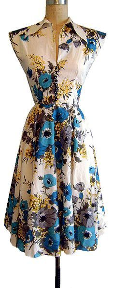 Trashy Diva Blue Poppies Circle Day Dress