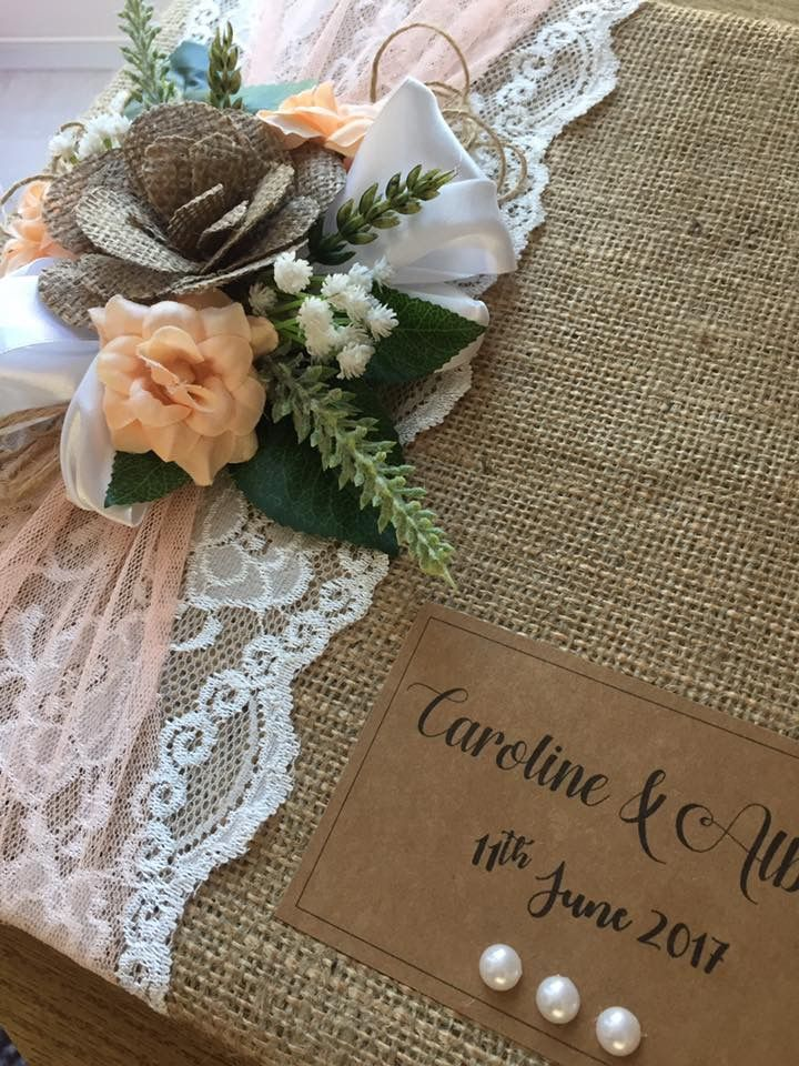 Peach  guest books with rustic desire