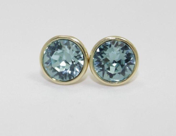 Swarovski Elements Light Turquoise Bella Earrings-Gold Plated Push Back Earrings