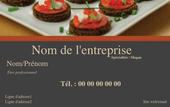 Modèle de Carte de Visite Professionnelle et Personnalisable en ligne pour Service Traiteur Gastronomique, à commander en ligne, Exemple gratuit pour Service Traiteur