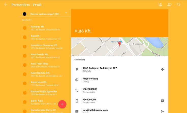Tablet Ügyvitel App vevő/Szállító Partnertörzs
