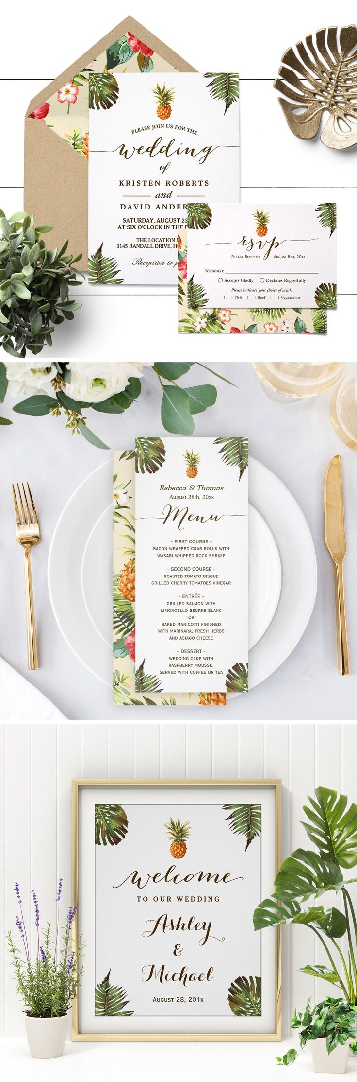 sister marriage invitation letter format%0A Planning a destination wedding in summer season  This Tropical Leaves  Pineapple Luau Wedding Invitation Suite