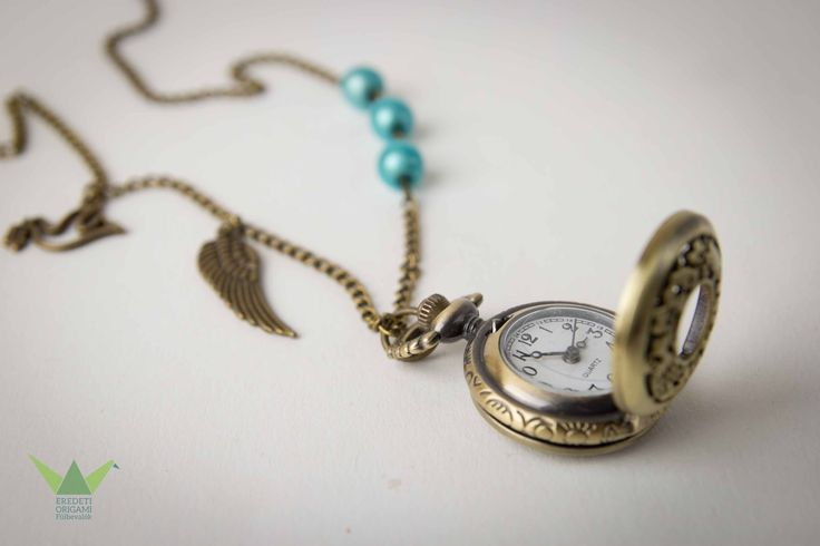turquoise, angel, necklace pocket watch
