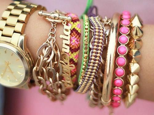 Stacks of bracelets makes for fab arm candy!