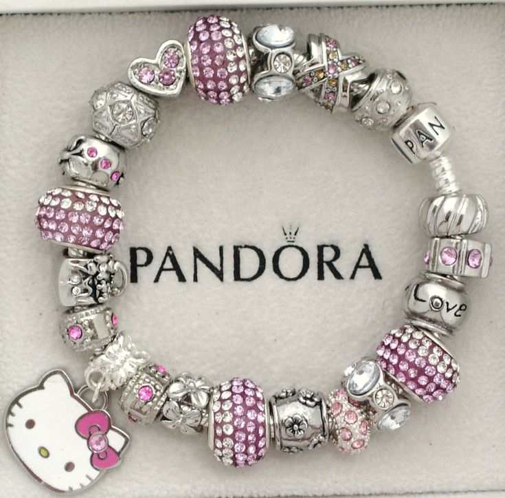 New Authentic s Silver Pandora Bracelet Sanrio Hello Kitty Love Heart Charms | eBay