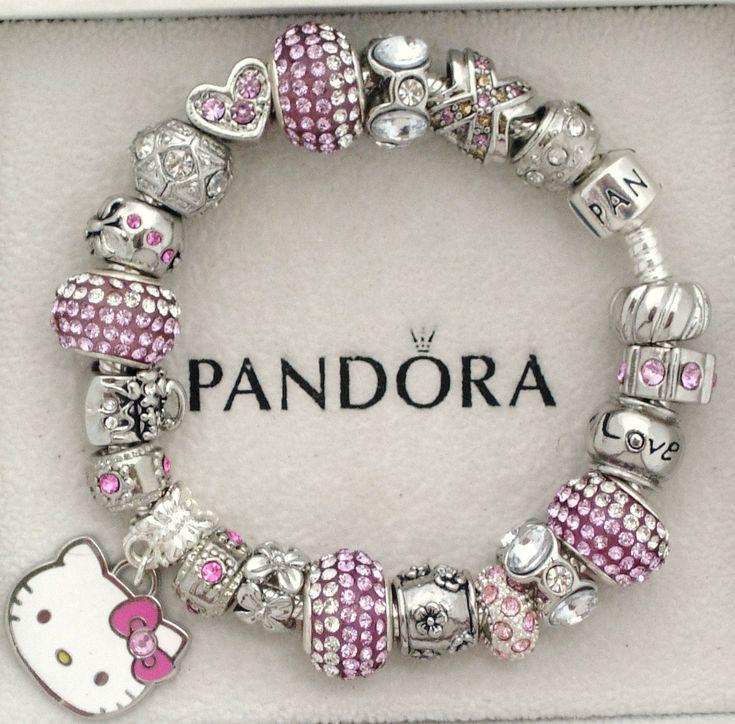 New Authentic s Silver Pandora Bracelet Sanrio Hello Kitty Love Heart Charms | eBay