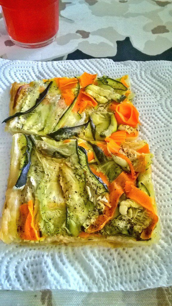 Satu Ylävaara (@SatuYlavaara) | Twitter: vegetarian food for midsummer: pizza without pizza: filo with finnish & mediterrian mix veggies & spices