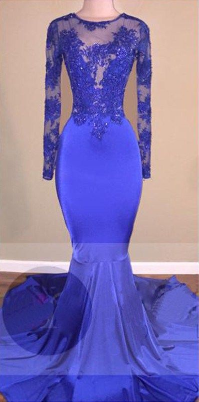 Sexy Blue Mermaid Long Sleeves Backless Appliques Prom