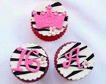12 diva royal princess crown ball tiara zebra edible fondant cupcake topper birthday party girl sofia the first sleeping beauty sleepover