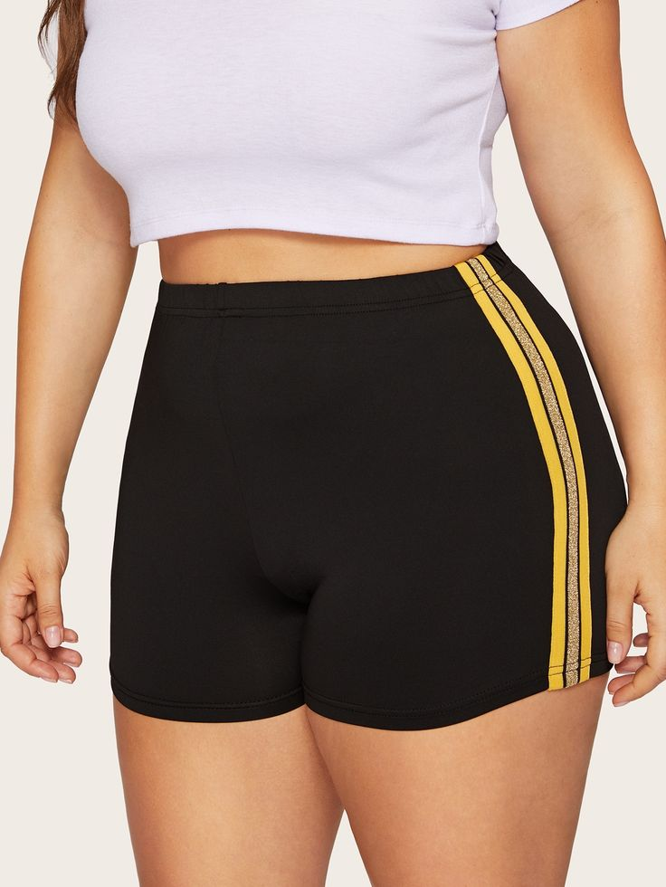 Plus Contrast Taped Side Biker Shorts   – Funny Halloween Costumes Hilarious