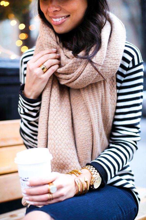Bundled up in an over-sized scarf in blush, with basic stripes and blue jeans. #style_envy: