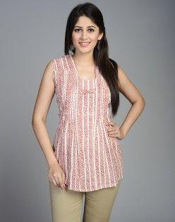 Cotton Dhar Printed Square Neck Pleated Short Kurta