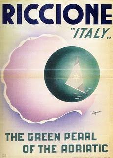 """Riccione """"the green pearl of the adriatic"""" Italy - Vintage travel beach poster #retro #deco #essenzadiriviera - www.varaldocosmetica.it/en"""