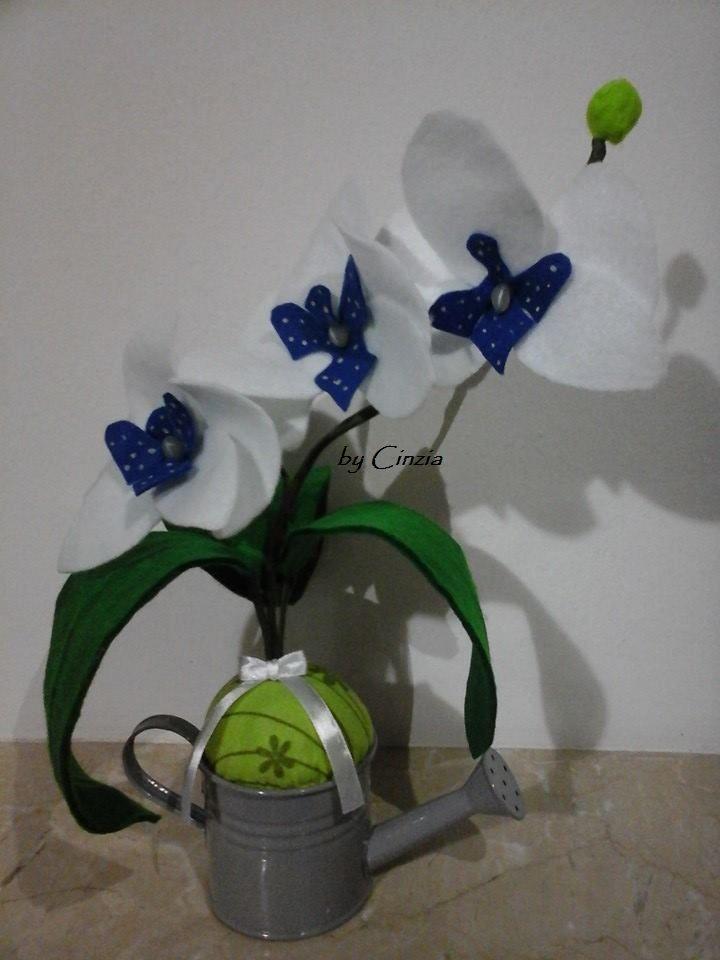 Orchidee in pannolenci (versione blu)