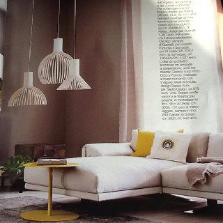 Secto design's Victo and Puncto Finnish lamps hung together make a wonderful lighting statement. Contemporary and clean.