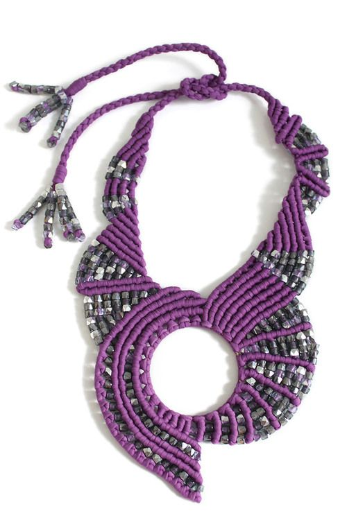 Studio Space - Beaded Macrame Necklace in Purple Tammy Tiranasar Jewelry