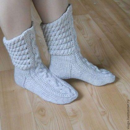 Носки шерстяные вязаные, теплые носки для дома, домашняя обувь, для дома, сапожки вязанные, носки высокие, длинные носки в подарок, носки мужские, женские носки зимние, под зимнюю обувь