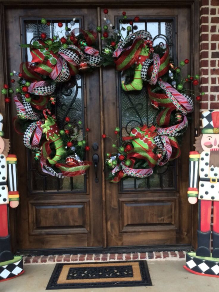 Extra large wreath, cute in half and decorated for double doors. My favorite!